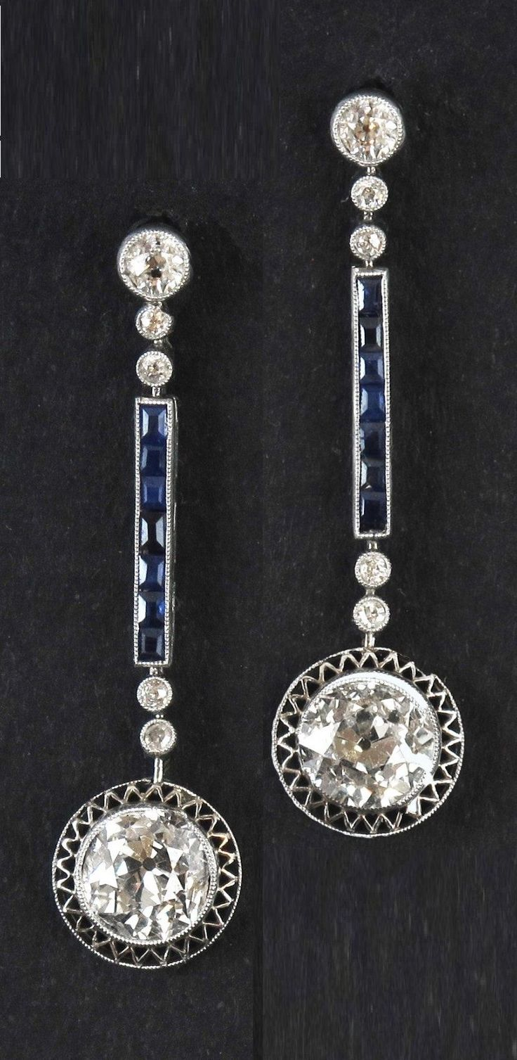 Art Deco Diamond & Sapphire Earrings http://www.allthingsvogue.com/best-everyday-silver-bracelets/