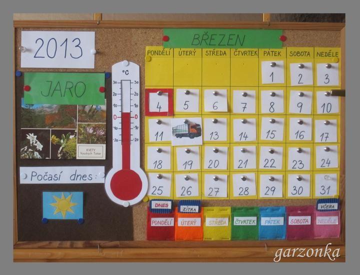 Kalendář . Každé roční období má svou barvu, je tam teploměr a kartička na odvoz odpadu.