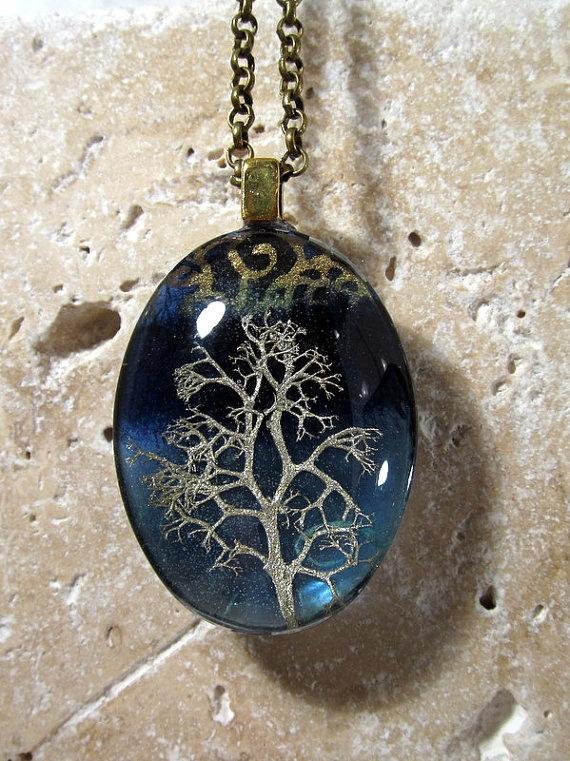 Reindeer Lichen Necklace Moss Jewelry Leaf Jewelry by Chaerea -1
