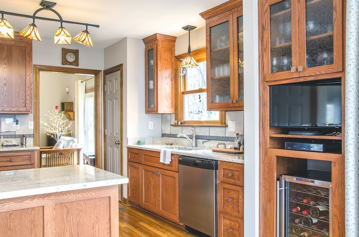Kitchen remodel with new custom red #oak cabinets ...