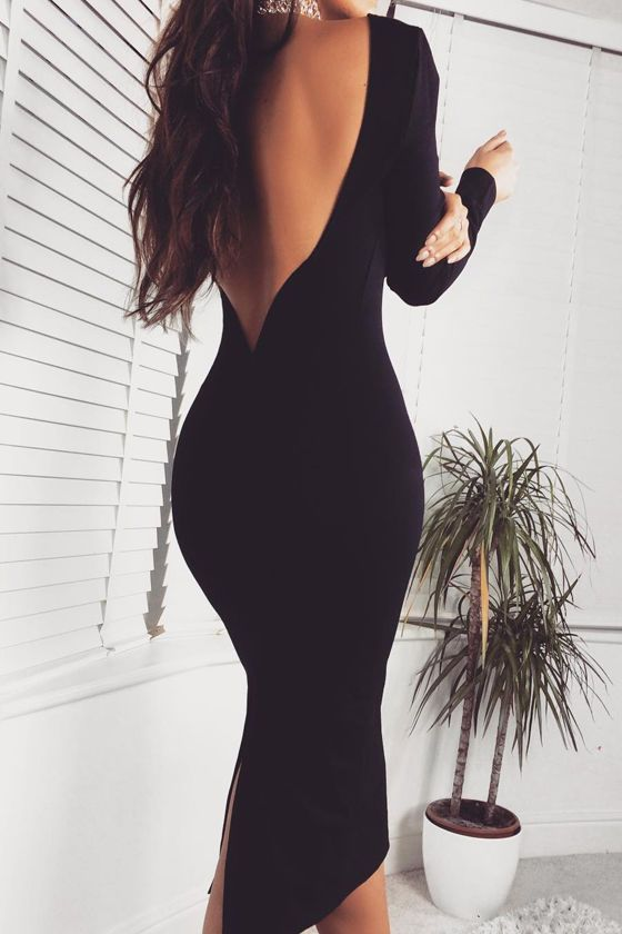 You'll be catching kisses left and right when you strut your stuff in the Va Va Voom Black Backless Midi Dress! Curve-loving stretch knit hugs your figure from a high, rounded neckline down to a midi-length hem. Long sleeves frame an ultra-deep V (with hidden V-bar for added structure) at back that dips low to show off your sexy side. Kick pleat at back. As Seen On Natalie of @natalietasha and Alice of @alis_jo!