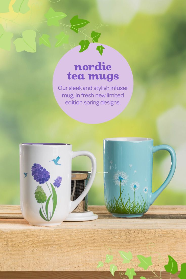 SPRING 2015 - These mugs come with removable stainless steel infusers and lids you can use as a little coaster when you're done steeping. How perfect is that?