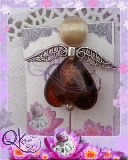 alfiler angelito mod03 comuniones y bautizos  bola de seda,abalorio,cristal pegado