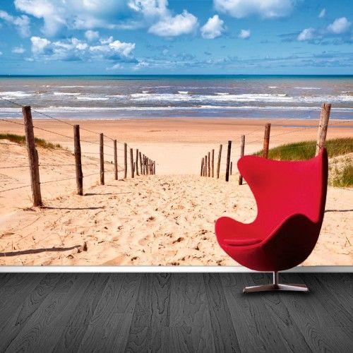 Fotobehang strand | Maak het jezelf eenvoudig en bestel fotobehang voorzien van een lijmlaag bij YouPri om zo gemakkelijk jouw woonruimte een nieuwe stijl te geven. Voor het behangen heb je alleen water nodig!   #behang #fotobehang #print #opdruk #afbeelding #diy #behangen #strand #kust #zomer #seizoen #zee #hemel #zand #duinen