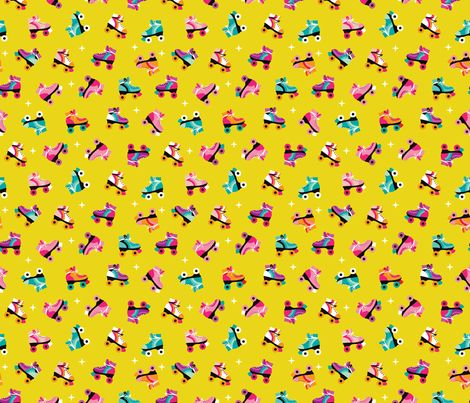 Fun colorful retro roller skates disco fun vivid illustration print fabric by little smilemakers studio via Spoonflower - custom fabric, wallpaper, decals & textiles - home textiles and fashion print inspiration