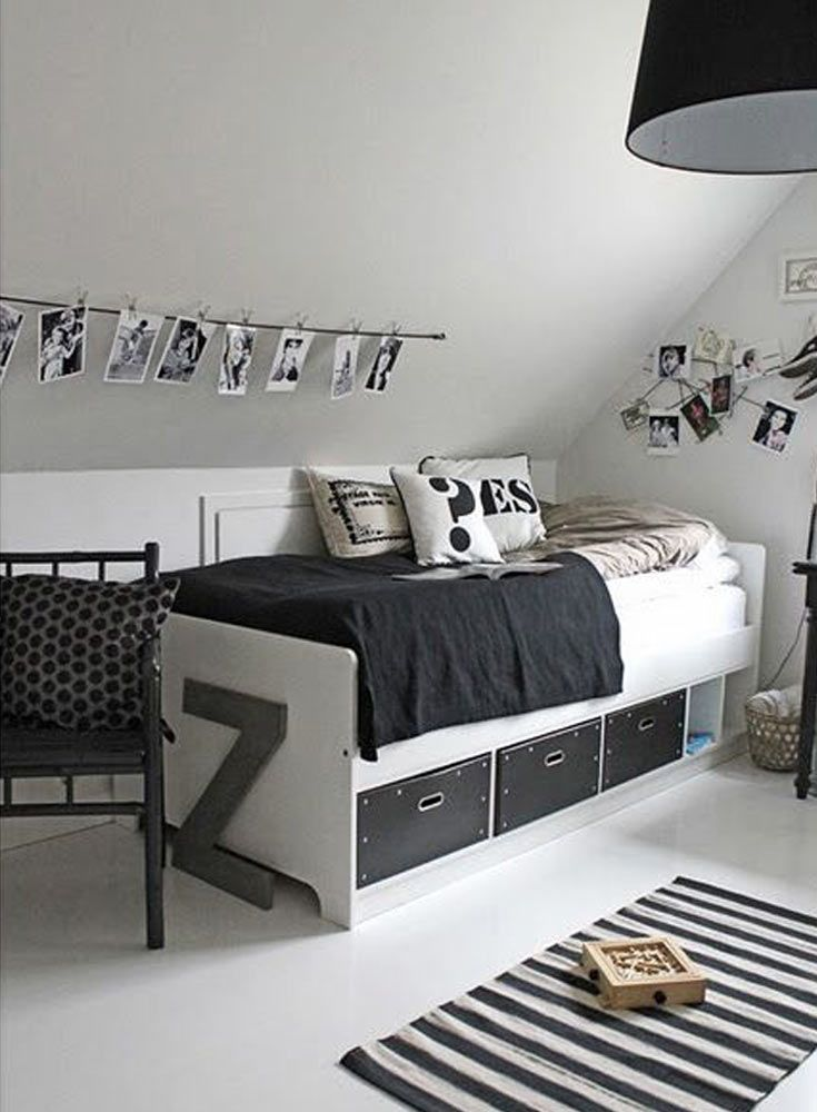 19 best images about favorite places spaces on pinterest for Black white and gray bedroom ideas
