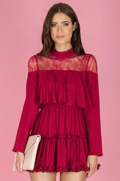Dynasty Ruffle Dress - Red    Share this Pin!