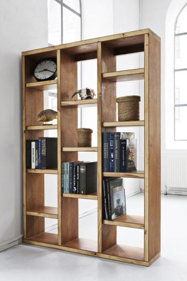séparation de pièce bibliothèque sobre bois