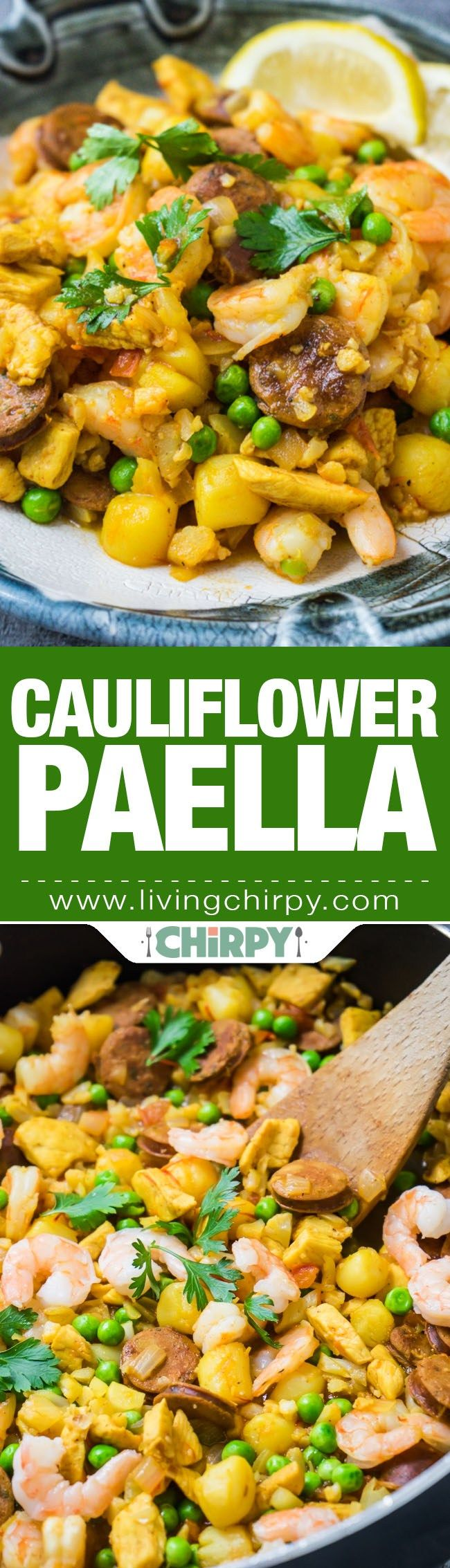 Quick and Easy Low Carb Cauliflower Paella. Get your seafood fix with non of the carbs. Paella made with cauliflower rice.