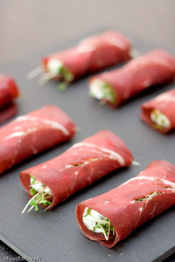 Rouleaux de Viande des Grisons, Ricotta et Pousses de Roquette