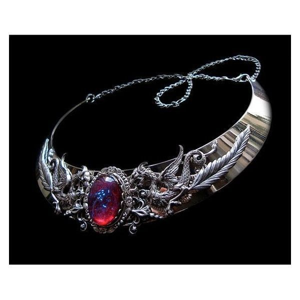 Necklace Dragon Breath Medieval Fantasy Torc Renaissance Silver Jewell ❤ liked on Polyvore featuring jewelry, necklaces, red necklace, jewels jewelry, silver jewellery, red jewelry and silver jewelry