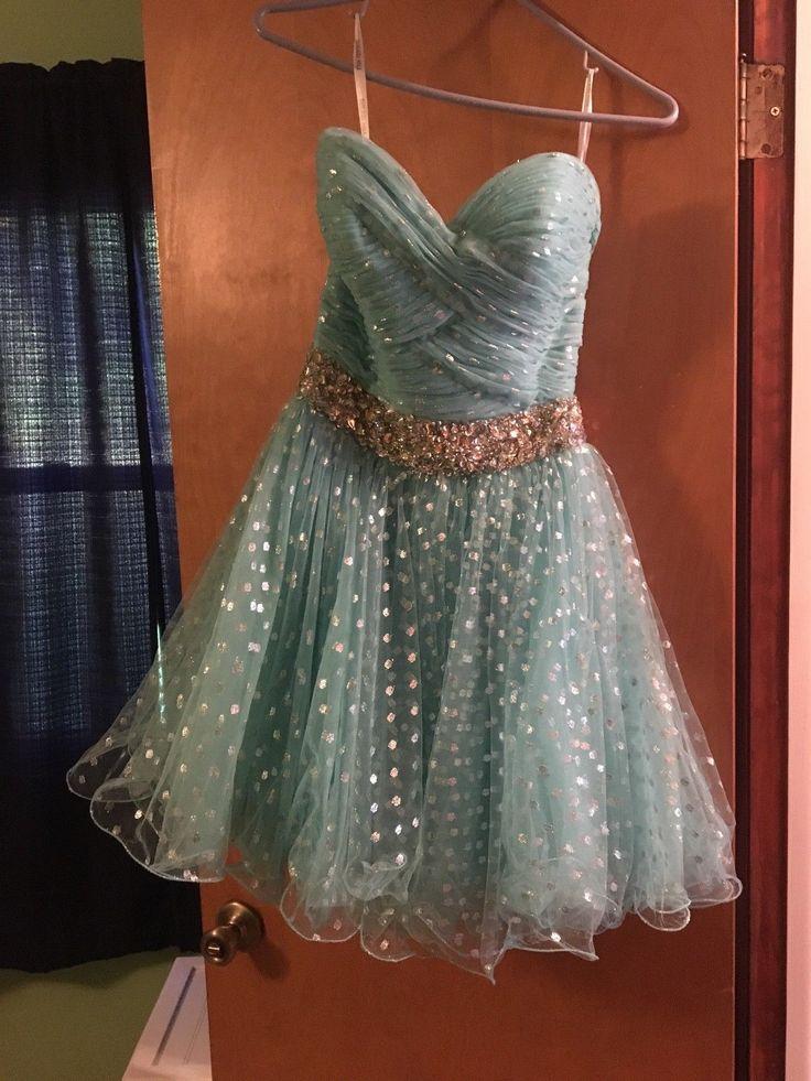 Awesome Great Sherri Hill short prom/Homecoming dress, aqua, size 6, 2017 2018
