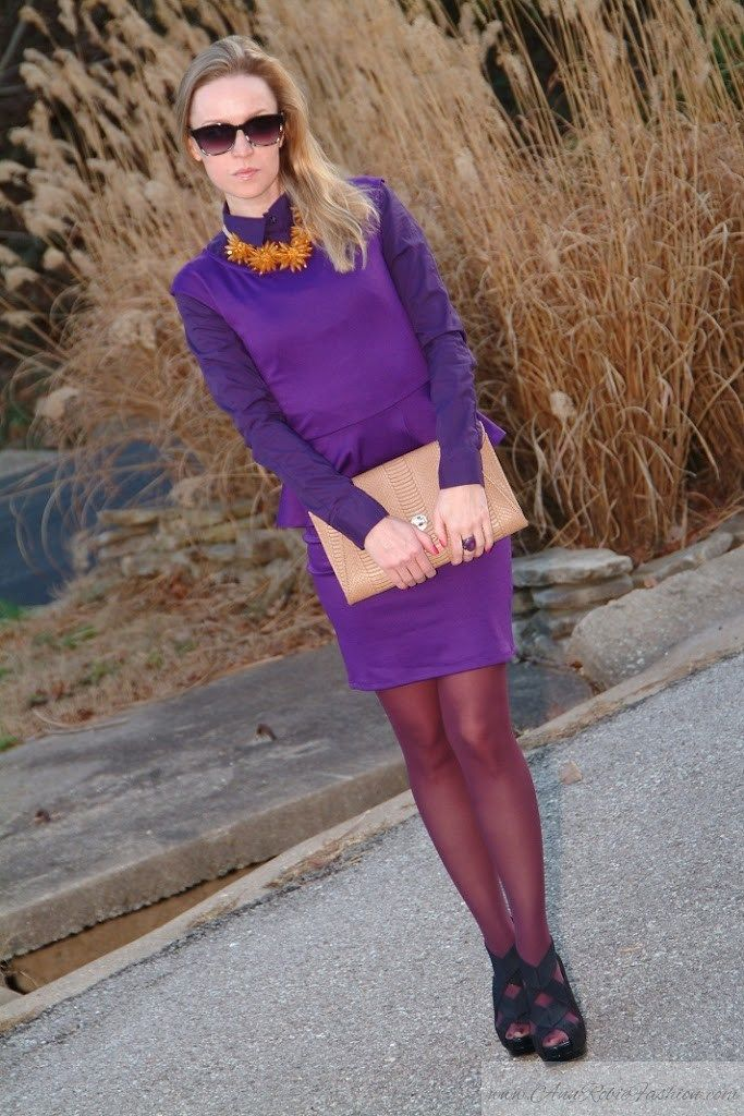 Yellow Flowers in December - AnnRobieFashion #purple #pantyhose #heels #blogger
