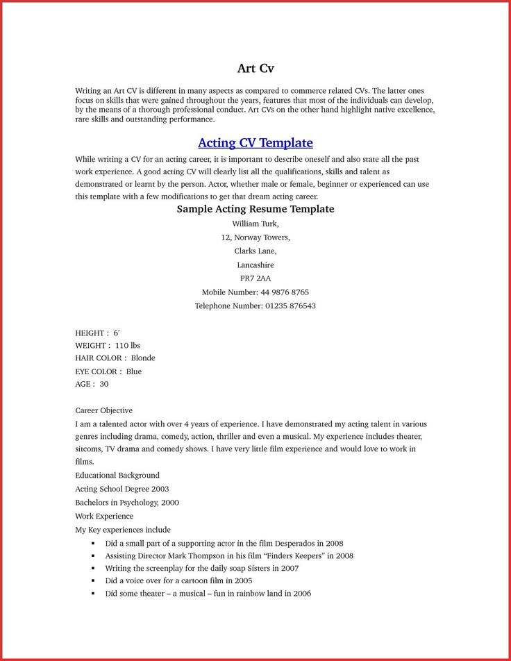 27 acting cover letter acting resume template acting