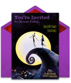 Customizable The Nightmare Before Christmas online invitations. Easy to personalize and send for a party. #punchbowl