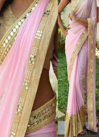Pink Thread Work Hand Work 60 Gram Georgette Banarasi Designer Half Sarees…