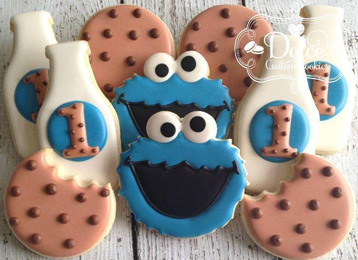 Cookie Monster 1st birthday cookies