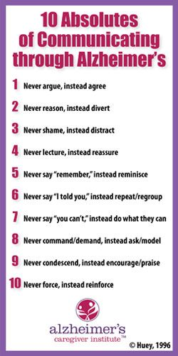 Jo Huey's Ten Absolutes of Alzheimer's Care