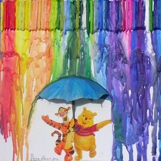 Melted Crayons - love the 3D umbrella!