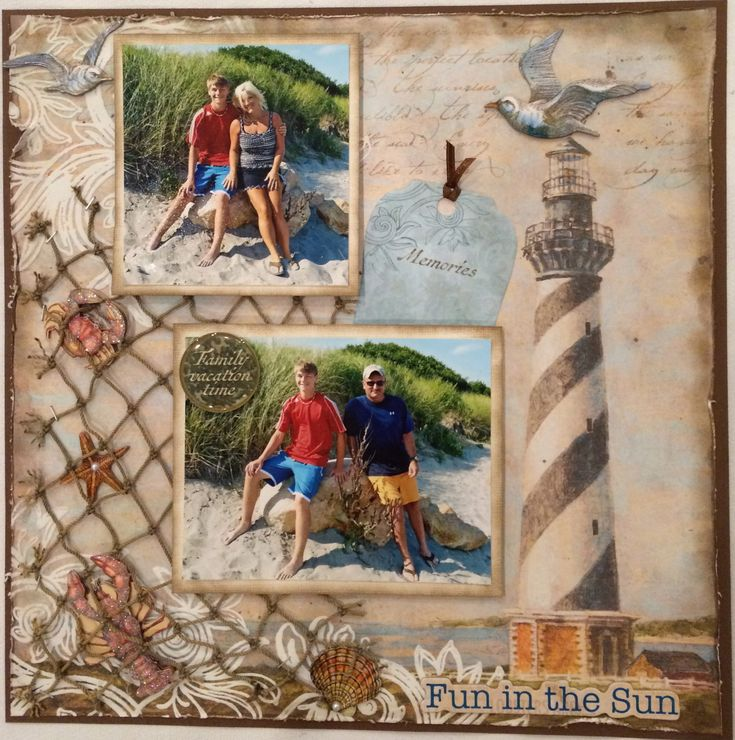 Fun in the Sun - Scrapbook.com Love the netting on this layout, what a great touch!