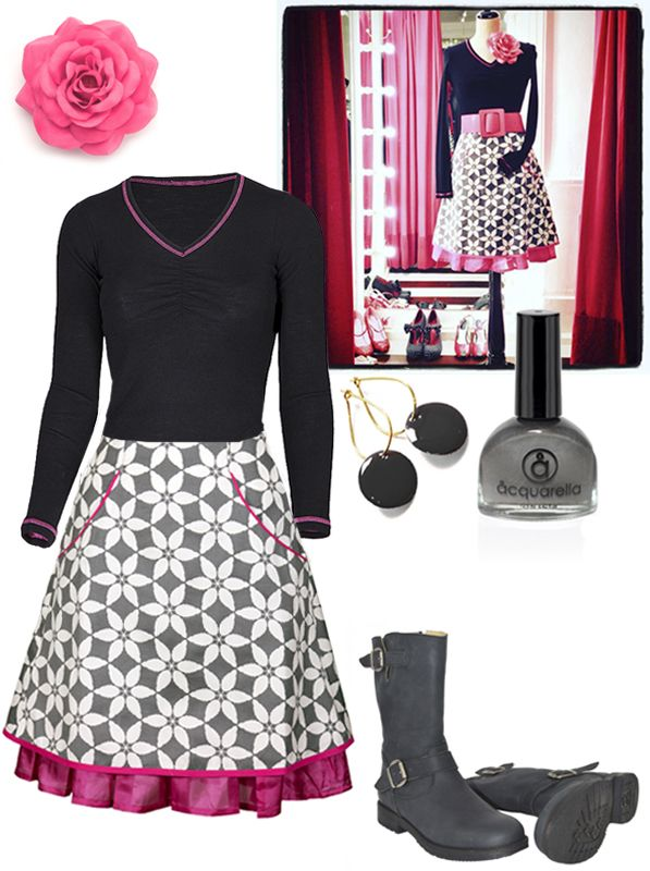 """A feminine everyday outfit with our basic wool """"Bow blouse"""" and the""""Sonja"""" skirt. Accessories: Our dot earnings, E&L rose and Aquarella is doing wonderful nail polishes, the only truly safe nail polish that is both water-based and non-toxic. And """"These boots are made for walking"""" from Martin Natur."""