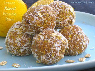 "A NO-bake treat for the lemon lovers! Pucker up to ""Lemon-Kissed Blondie Bites"" by Dreena Burton, Plant-Powered Kitchen #vegan"