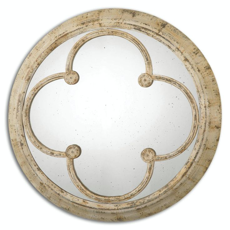 36.25 Aemilius Round Antiqued Wall Mirror with Hand-Forged Iron Rusted Ivory Frame - White