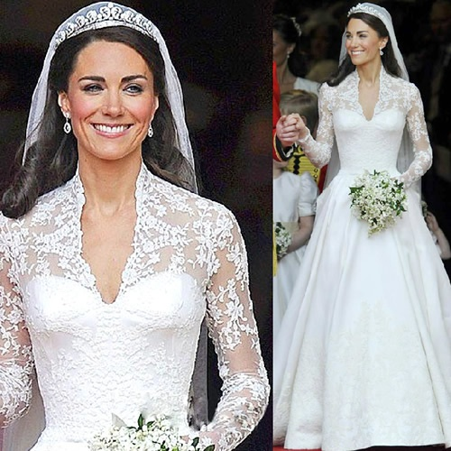 White Lace Long Sleeve Winter Fall Royal Wedding Bridal Gown Dress  SKU-118137