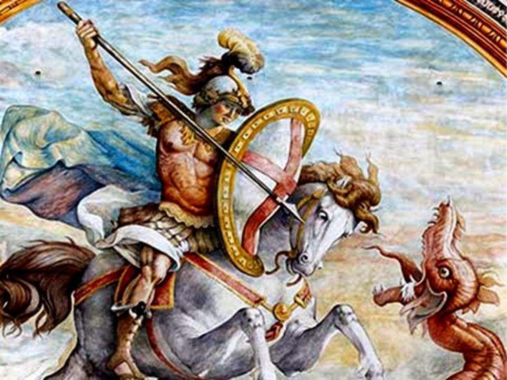 Poderoso San Jorge noble guerrero,   ayudadme a vencer a en esta lucha.     Recio defensor de las causas justas,   que tus legiones a...