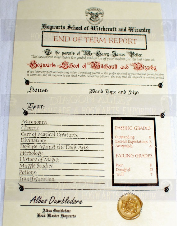 Hogwarts End of Term Grade Report Perfect for by WizardingWorld, $7.00