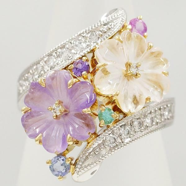 01a25d2e408e1 eBay  Sponsored Platinum 900 18K Yellow gold Ring 11 size Amethyst Free  shipping Used