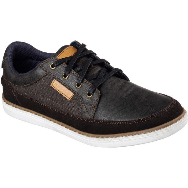 Skechers Men's Lanson - Elaven Brown - Skechers (260 RON) ❤ liked on Polyvore featuring men's fashion, men's shoes, brown, mens oxford shoes, mens brown oxford shoes, skechers mens shoes, mens brown shoes and mens lace up shoes