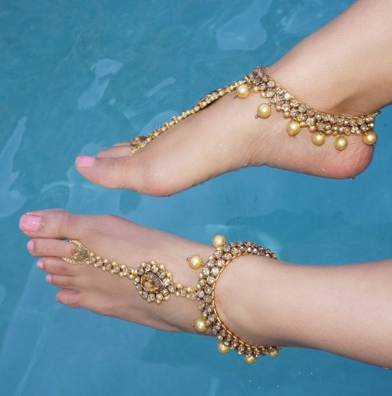 Gold Jeweled Kundan Barefoot Sandals Wedding Bride by SoVein