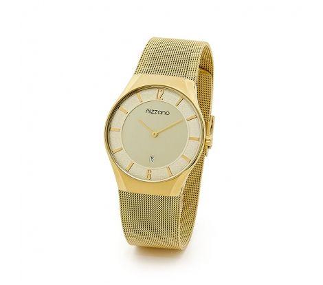 Mizzano Mens Mesh gold watch