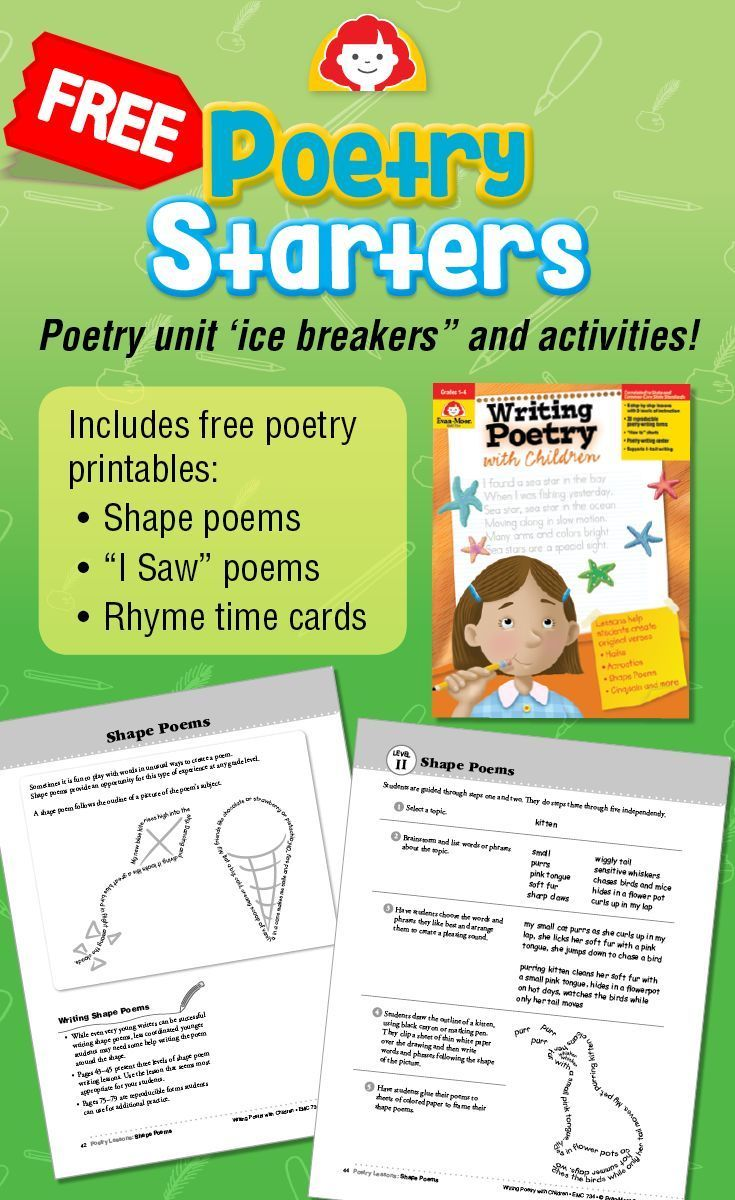 Poetry Unit Ice Breakers And Poetry Starters Poetry Unit Preschool Writing Fourth Grade Writing