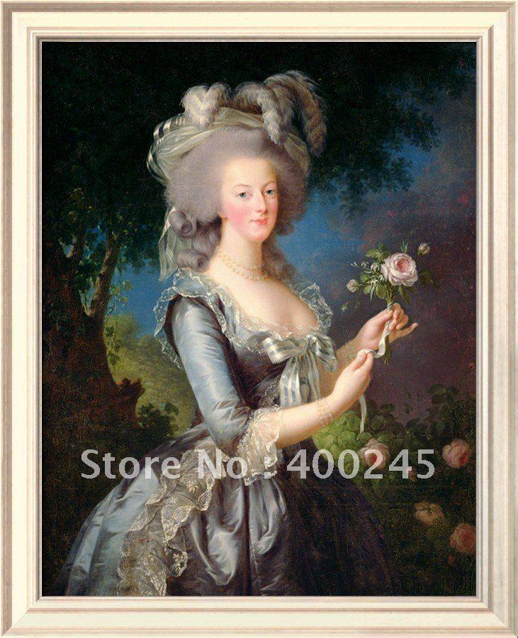 Портрет масляной живописи классической живописи Мария-Антуанетта (1755 93) с Розой 1783 Элизабет Луиза Vigee Лебрен