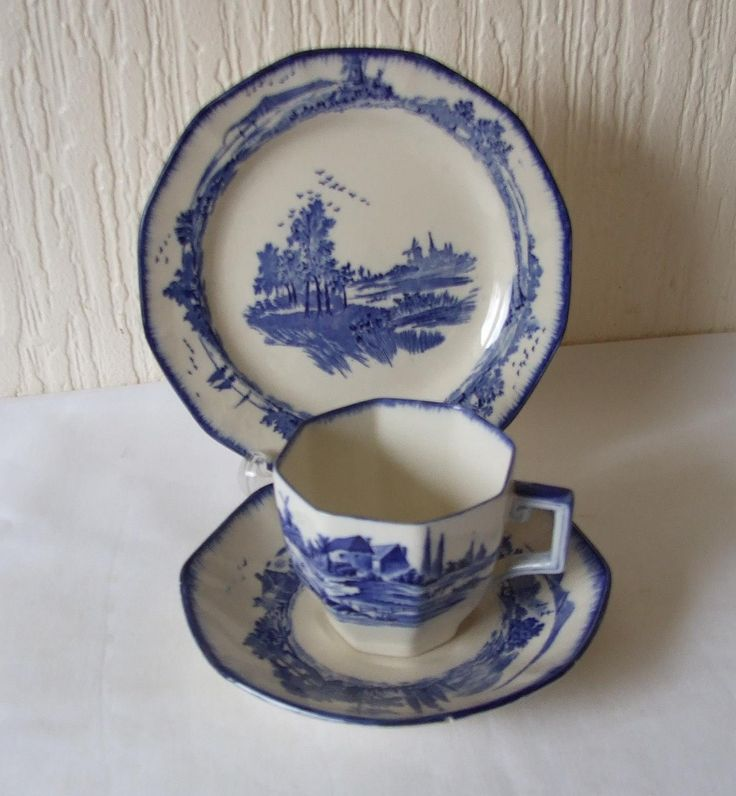 """Vintage Art Deco Classic Royal Doulton """"Norfolk"""" English china Tea Cup , Saucer and Side Or Tea Plate WORLD WIDE SHIPPING by TheMewsCottage on Etsy"""