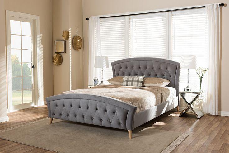 Best Baxton Studio Hannah Grey Velvet Fabric Upholstered King 400 x 300