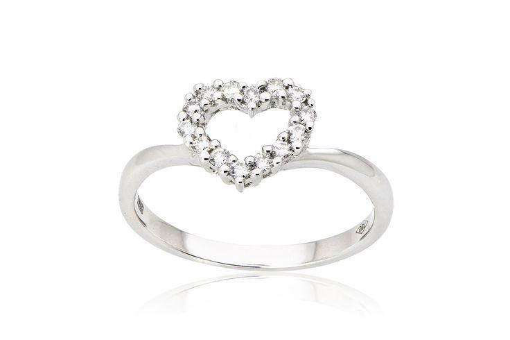 Ring With Heart Δαχτυλίδι με διαμάντια μπριγιάν κοπής 0,24CT από λευκόχρυσο 18Κ. Price :850 €