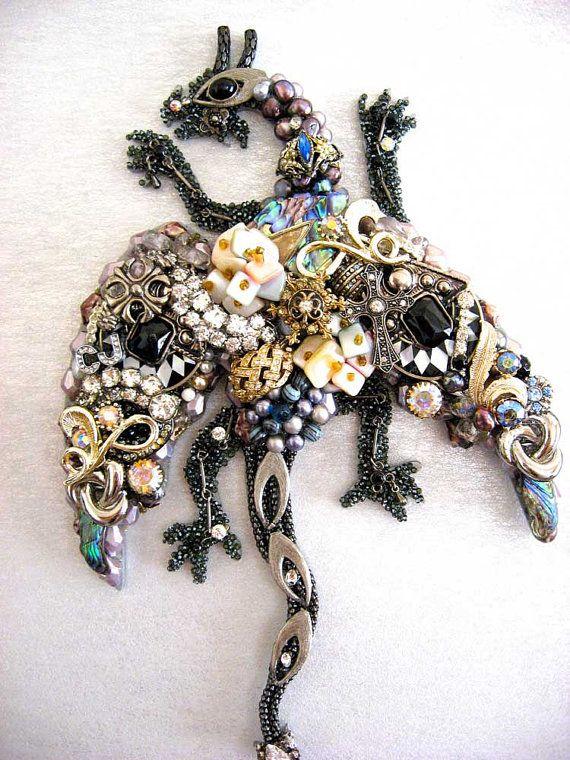 Framed Vintage Jewelry Dragon Art Jewelry by ArtCreationsByCJ