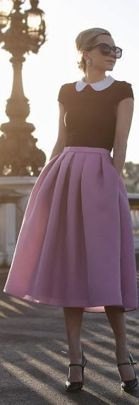 #Paris Sunrise by Atlantic - Pacific...Blair Eadie ALWAYS LOVE THIS OUTFIT ♡ ♡ ♡ tight top Bradley collar full pink pleated skirt love at first sight●♡♡ ♡ ♡ ♡ ♡ ♡