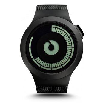 Un reloj con un aire futurista, con acero inoxidable mate en la caja y en la correa de malla, en este caso con un acabado pavonado negro http://www.tutunca.es/reloj-de-hombre-ziiiro-saturn-pvd-negro