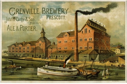 John McCarthy & Sons brewery...the Grenville Brewery in Prescott, Ontario, Canada. This was an advertisement for the brewery.