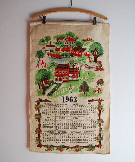 Farmhouse Kitchen Linens: Vintage 1963 Red Farmhouse CALENDAR Kitchen Towel Linen