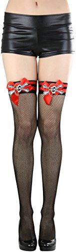 ToBeInStyle Womens Stripe Top And Cross Bone Fishnet Thigh Hi  MULTICOLOURED -- You can get additional details at the image link.