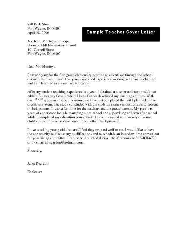 25 Cover Letter Examples For Teachers Teaching Jobs Zaxatk
