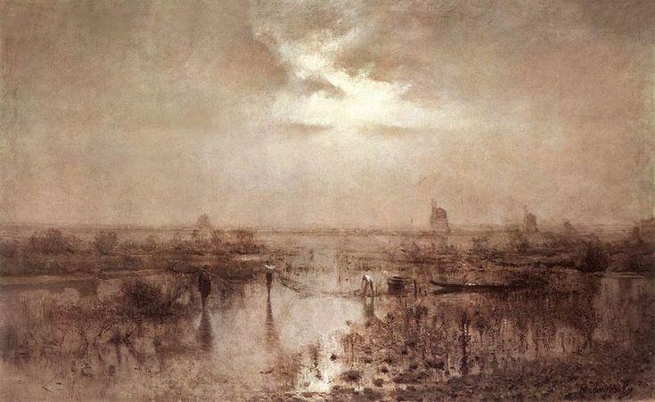 László Mednyánszky (1852-1919) - fishing on the Tisza, oil on canvas, c. 1880.