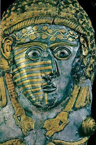 Tatooed Face; a Thracian Goddess and/or a woman of high status. 380 - 350 BCE. ancient Bulgaria. the Vrasta Greave, silver and gold.