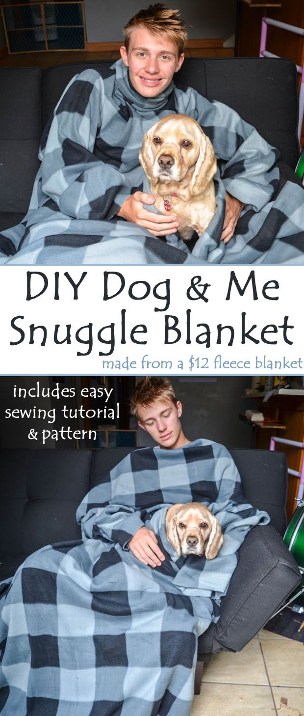 DIY Dog Snuggle Blanket Sewing Tutorial - Follow this easy sewing tutorial to create a DIY Dog Snuggle Blanket which includes a hole for your dog's head. Cuddle up with your pooch with this homemade Snuggie for dogs. (ad) #dogDIY #sewingtutorial #snuggie #DianaRambles #sewingpattern