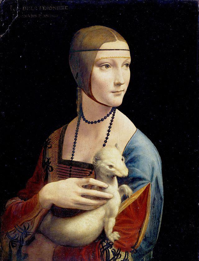 Retrato de Cecília Gallerani, Dama com Arminho. É possível notar, na ponta dos dois dedos inferiores, retoques grosseiros, assim como na região esquerda do modelo, efeito de restaurações posteriores